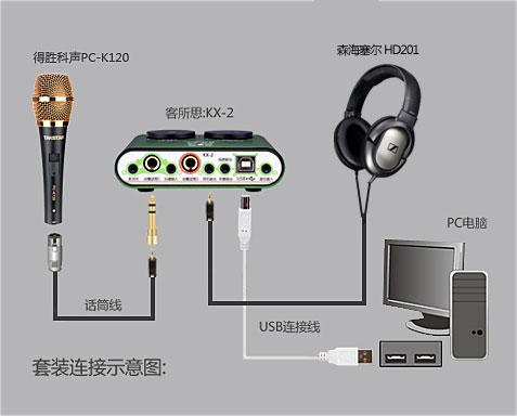 将hd201耳机的连接线直接插入客所思kx-2a声卡的