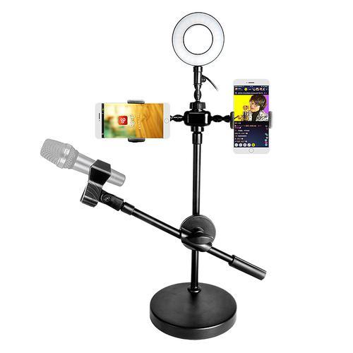 大萌主 ZB-005 手机直播桌面补光灯支架 2手机架+灯+麦克风杆桌面大底架支架