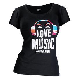 音平(INGPING) 【爱音乐】女装短袖圆领修身主题T恤  (L)