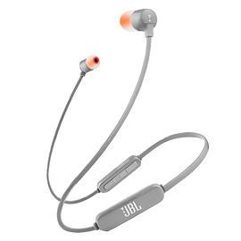 JBL T110 BT入耳式无线蓝牙耳机 手机重低音音乐线控运动型跑步耳塞 (灰色)