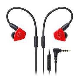 铁三角(Audio-technica) ATH-LS50iS 双动圈监听HIFI耳机 运动带线控手机入耳式耳塞(红色)