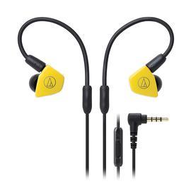 铁三角(Audio-technica) ATH-LS50iS 双动圈监听HIFI耳机 运动带线控手机入耳式耳塞(黄色)