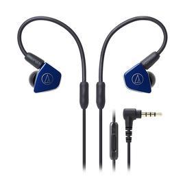 铁三角(Audio-technica) ATH-LS50iS 双动圈监听HIFI耳机 运动带线控手机入耳式耳塞(海军蓝)