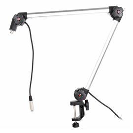 爱克创(Alctron) MA614 播音主持录音万向摇臂支架 重型悬臂式麦克风桌面支架 (银色)
