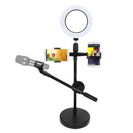 其它 ZB-006 麦克风桌面支架 手机K歌直播台式大底座支架(可夹2手机+麦克风+补光灯)