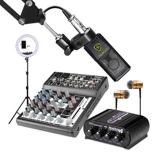 得胜XR-210FX调音台搭配莱维特LCT 240 PRO麦克风    手机K歌直播套装