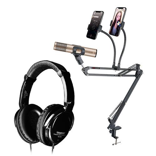 得胜PH130麦克风搭配得胜HD2000耳机 手机K歌直播套装 全民K歌唱歌设备全套