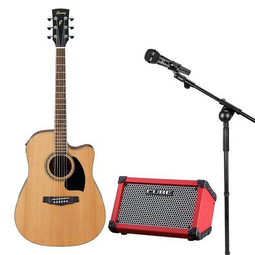 依班娜PF17ECE电箱民谣吉他搭配舒尔SV200C麦克风    吉他现场演奏套装