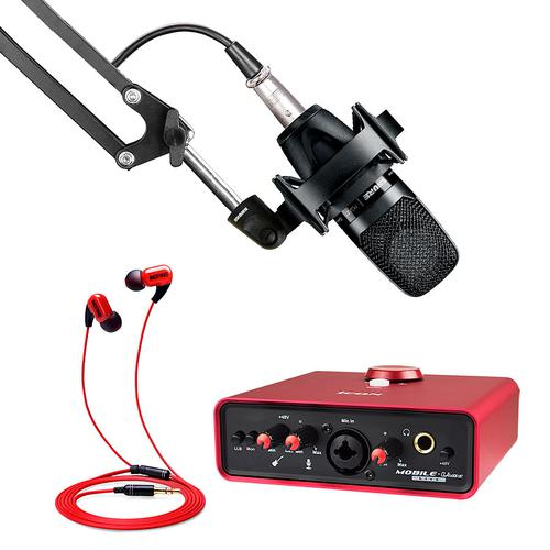 艾肯MOBILE·U MINI Live声卡搭配舒尔PGA27麦克风 网络K歌直播套装