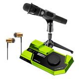 莱维特STREAM 4x5声卡(绿色)搭配Blue EN CORE 300手持麦克风 电脑手机直播K歌声卡套装 抖音快手主播直播录音设备全套