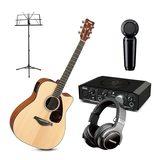 雅马哈FGX800C电箱吉他搭配美奇Onyx Artist 1·2 声卡 吉他录音套装