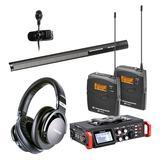TASCAM DR-701D录音机搭配森海塞尔MKH416-P48麦克风  影视同期录音套装