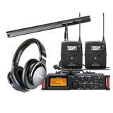 TASCAM DR-70D录音机搭配森海塞尔MKH416-P48U3麦克风  影视同期录音套装
