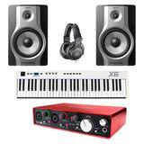 富克斯特Scarlett 2i4二代声卡搭配美派X6 61键MIDI键盘    编曲套装