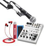 雅马哈AG06调音台搭配舒尔SM58s麦克风 电脑手机直播K歌声卡套装 抖音快手主播直播录音设备全套 进阶版