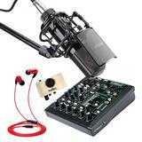美奇ProFX6v3声卡调音台搭配得胜PC-K850麦克风 手机直播K歌套装