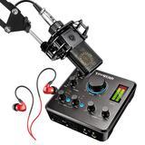 得胜MX630声卡搭配莱维特LCT440PURE麦克风  电脑手机直播K歌声卡套装 主播直播录音设备全套