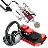 莱维特STREAM 4x5声卡(红色)搭配Blue Spark SL麦克风 电脑手机直播K歌声卡套装 抖音快手主播直播录音设备全套