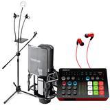 【可移动式 电容麦克风版】得胜MX1 Plus声卡搭配得胜PC-K850麦克风 电脑手机K歌直播带货套装