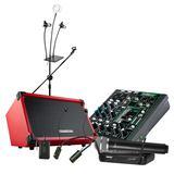 美奇ProFX6v3调音台搭配舒尔SVX24/PG58无线麦克风 户外路演K歌直播无线套装(220V供电版)