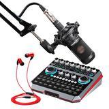 声佰乐B6声卡搭配铁三角AT2035麦克风  手机电脑直播K歌套装