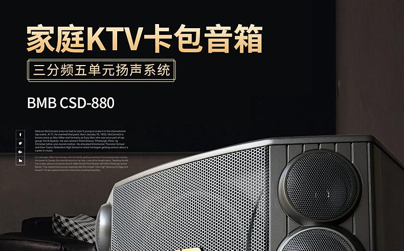 BMB CSD-880 10寸家庭KTV专业卡拉OK音箱卡包音箱 三分频五单元音响(一对)