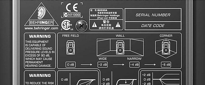 百灵达(BEHRINGER) B2030A 有源两分频录音室监听音箱