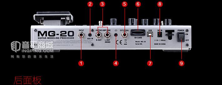 MG-20 电吉他综合效果器端口示意图