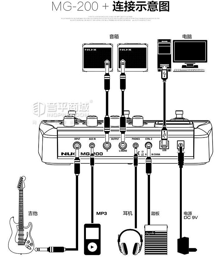 MG-200吉他数字合成效果器连接示意图