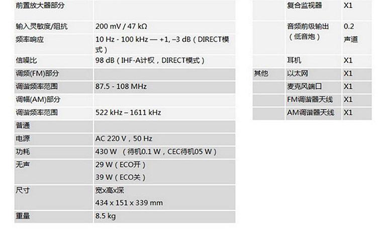 AVR-X1300W 7.2声道专业功放 家庭影院