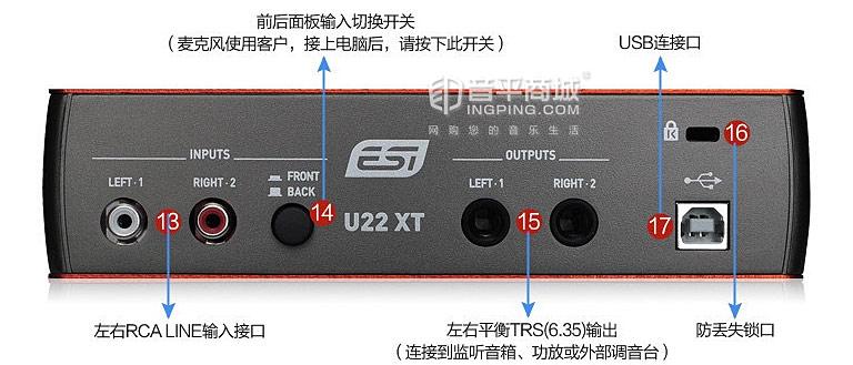 ESI U22XT USB专业声卡 接口示意图