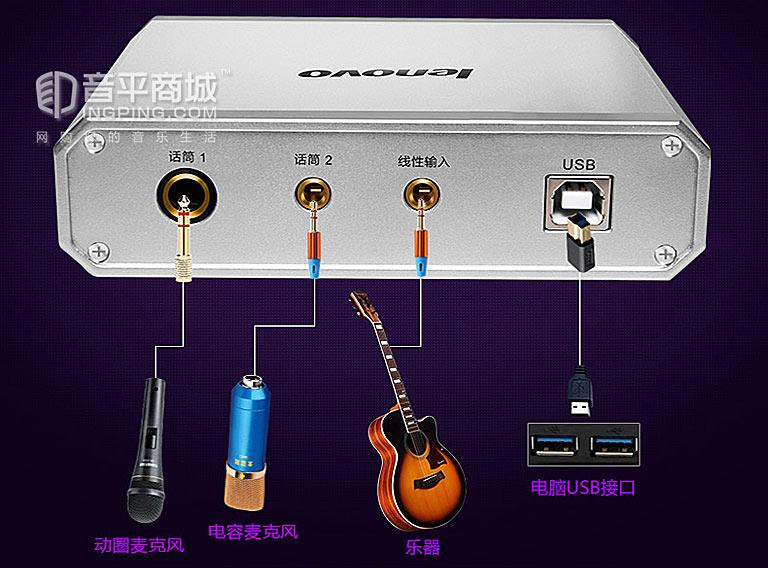 UC20 外置网络K歌声卡套装 KX效果声卡 笔记本声卡 家庭娱乐K歌系统连接图