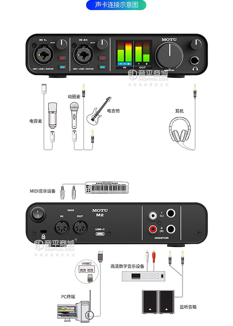马头怡生飞扬(MOTU) M2 外置USB音频接口 录音编曲声卡 2进2出