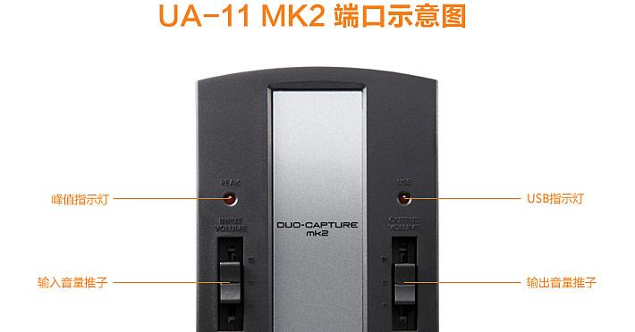 UA-11 MK2 USB音频声卡接口端口示意图