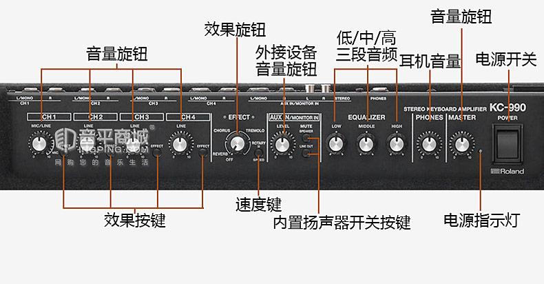 罗兰(Roland) KC-990 320W旗舰级立体声键盘监听音箱
