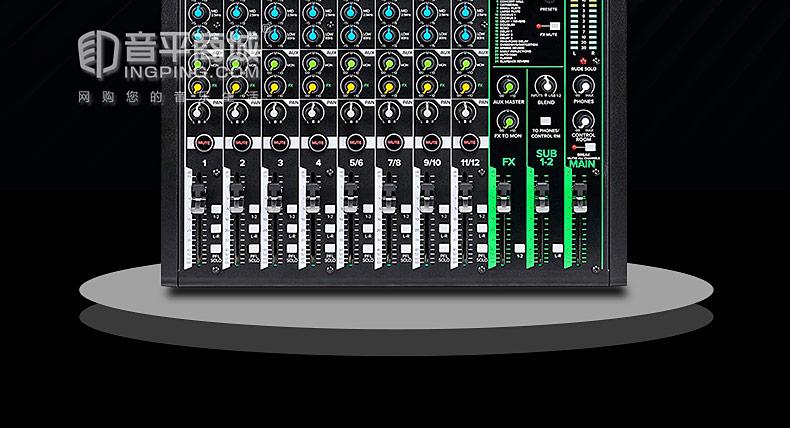 美奇(RunningMan) ProFX12v3 12通道4总线调音台带USB和效果器
