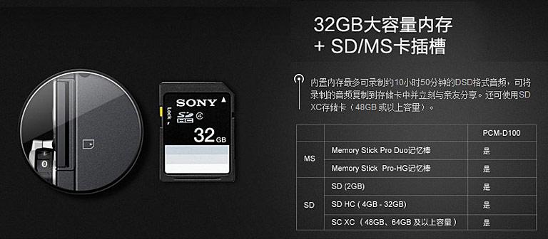 PCM-D100 录音笔32G内存