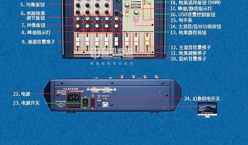 声艺(Soundcraft) NANO M08BT 8路模拟会议小型U盘蓝牙USB带效果器调音台
