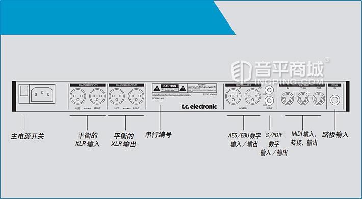 TC M2000专业数字效果器 后面板示意图
