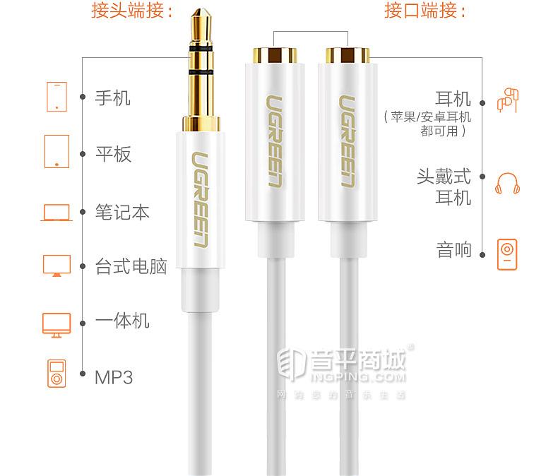 耳机分线器一分二音频线1分2双人情侣耳机转接头转换器分享线