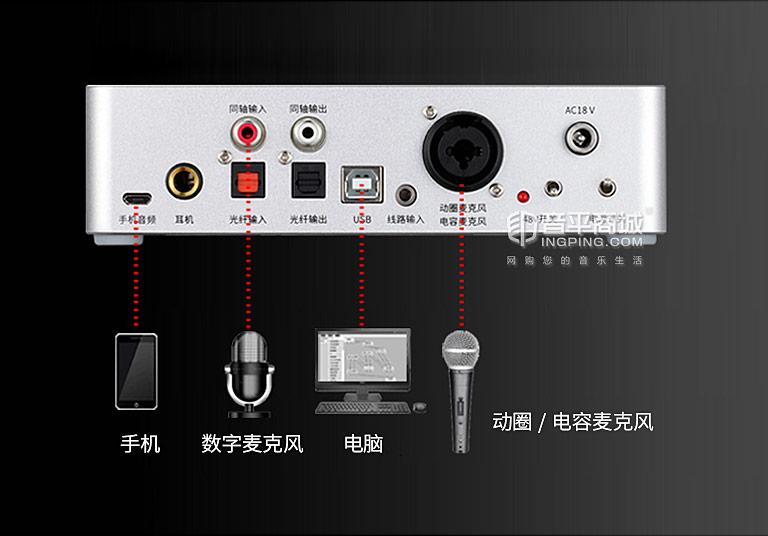 PD50 网络k声卡 支持手机直播 连接图