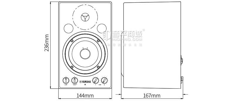 雅马哈(YAMAHA) MSP3 4寸专业录音棚个人录音有源监听音箱